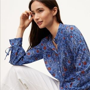 LOFT • Blue Floral Print Popover Softened Blouse